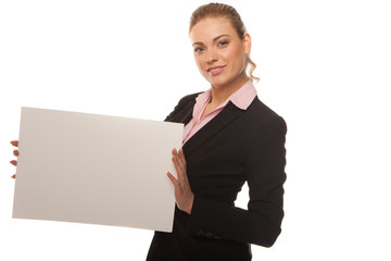 Business woman holding blank white card
