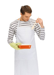 cooking man over white