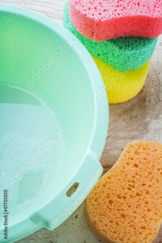 sponge and bucket to wash