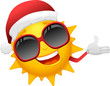 cartoon sun with santa hat