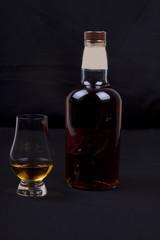 whisky on a black background