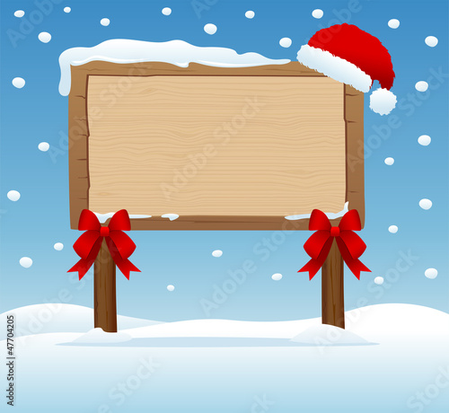 wooden signboard in christmas concept