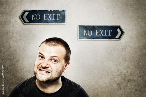 Angry man with no exit