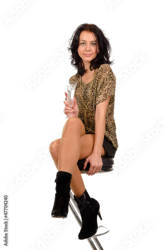 Elegant woman with a glass of champagne