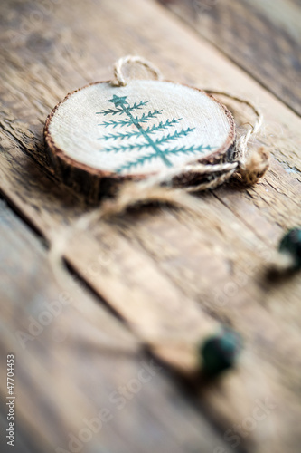 Wooden round christmas decoration