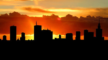 Poland Warsaw skyline sunrise