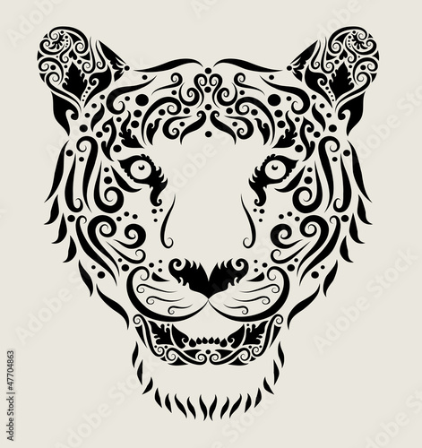 Aluminium Floral Ornament Tiger head ornament
