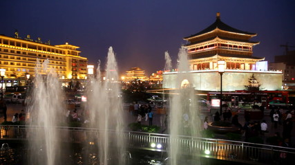 Night view of the Bell Tower in Xian, China.