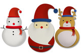 Santa raindeer and snowman papercut poster
