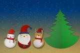 Santa raindeer and snowman papercut in night background poster