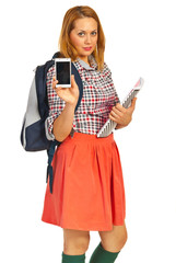 Student lady showing phone mobile