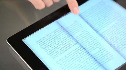 Pages of e-book on the tablet computer