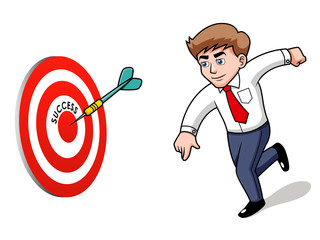 illustration of Businessman.Target. Success concept
