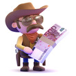 Cowboy holds a wad of Euro notes