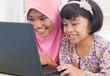 Asian female surfing internet