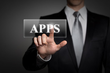man using business applications - APPS