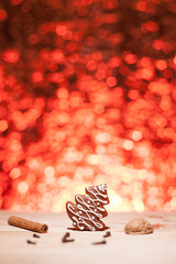 Christmas gingerbread with red blurred background