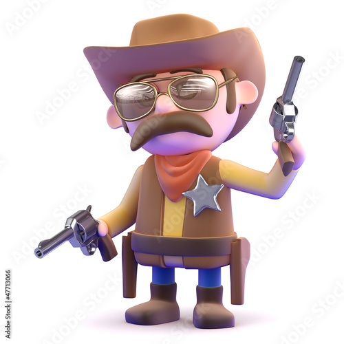 Cowboy lets off a shot from one of his pistols