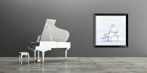 Flügel, Innenraum mit Wandbild, Musik