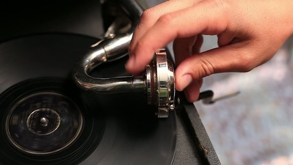 vintage old gramophone play music close up