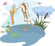 Heron and frog. Cartoon