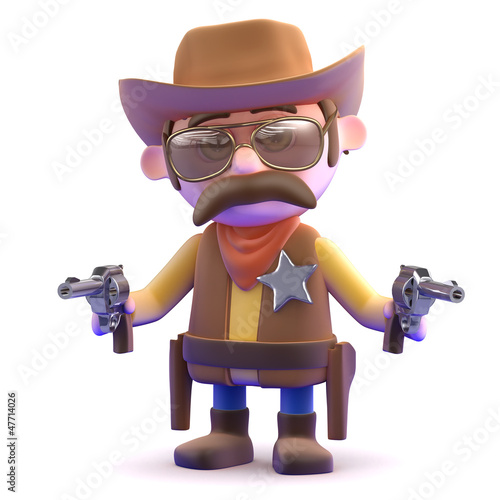 Cowboy points two guns at you