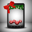 Tablet in christmas spirit with bow