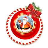 Santa and Christmas bow with pine tree