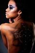 beautiful black American woman  with tattoo