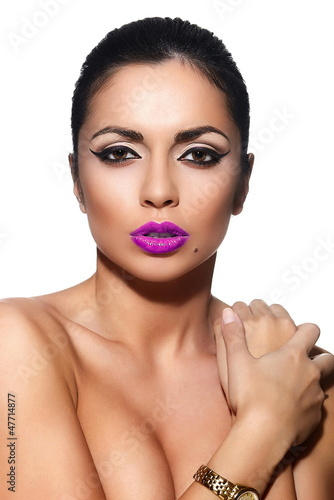 glamor sexy model with pink lips,bright makeup