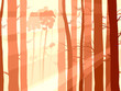 Horizontal illustration of pinewood forest with sun rays.