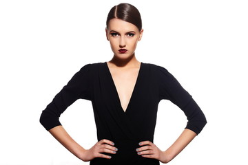 glamor sexy model with red lips,bright makeup in black dress