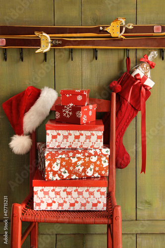 Red chair with holiday gifts
