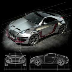Hybrid sports car on a black background. Non-branded car design.