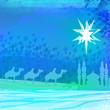 Classic three magic scene and shining star of Bethlehem