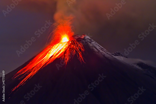 eruption of the volcano with molten lava - 47715649