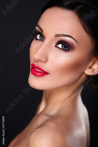 beautiful sexy  young model with red lips,bright makeup