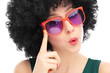 Young woman wearing afro wig