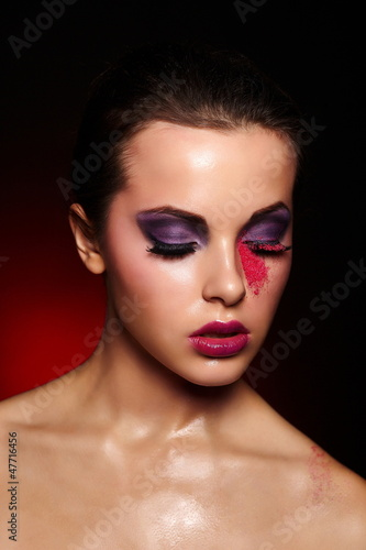 beautiful woman with bright lips,bright makeup