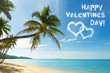 Valentines day card with tropical beach and coconut palm trees