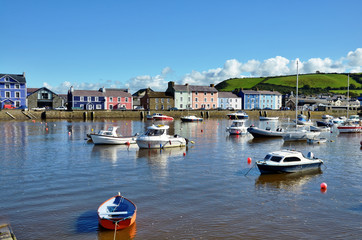 Boats moored in Aberaeron harbour, Wales.