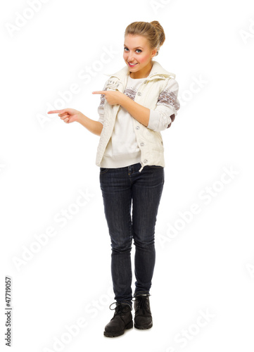 Young girl show pointing gesture
