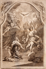 SLOVAKIA - 1768: Annuntiation. Archangel Gabriel and Virgin Mary