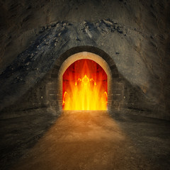 Road to hell. Religion metaphor.