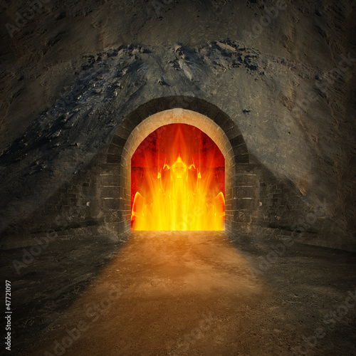 canvas print picture Road to hell. Religion metaphor.