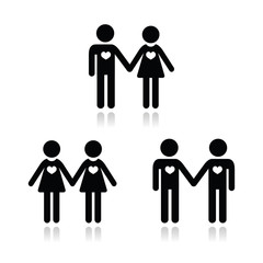 Hetero, gay, and lesbian love couples icons set