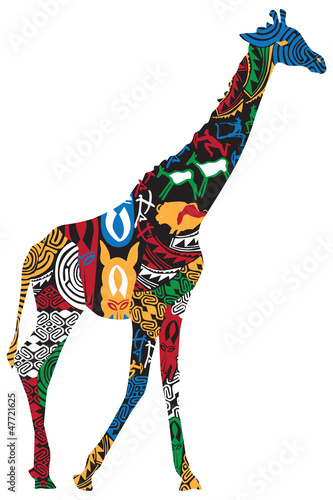 Giraffe in the African ethnic patterns