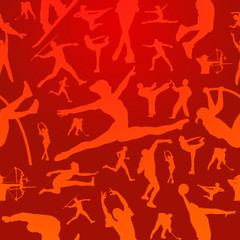 Sports silhouettes red pattern