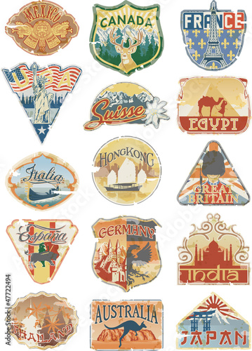 Vintage luggage labels on white background