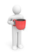 Person with red coffee cup
